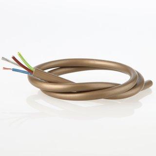 PVC Lampenkabel Rundkabel gold 3-adrig, 3Gx0,75mm² mit integriertem Stahlseil als Zugentlastung