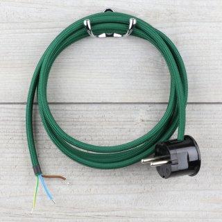 Textilkabel Anschlussleitung Zuleitung 2-5m dunkelgrün mit Schutzkontakt-Winkelstecker