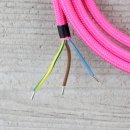 Textilkabel Anschlussleitung Zuleitung 2-5m pink mit Schutzkontakt-Winkelstecker