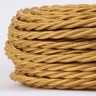 Textilkabel Stoffkabel gold 3-adrig 3x0,75 gedreht verseilt einzeln umflochten