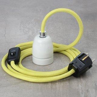 Textilkabel Lampenpendel gelb mit E27 Porzellanfassung Schnurschalter und Schutzkontakt Stecker schwarz