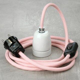 Textilkabel Lampenpendel rosa mit E27 Porzellanfassung Schnurschalter und Schutzkontakt-Stecker schwarz