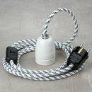 Textilkabel Lampenpendel schwarz-weiß mit E27...
