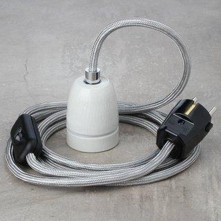 Textilkabel Lampenpendel silber mit E27 Porzellanfassung Schnurschalter und Schutzkontakt-Stecker schwarz