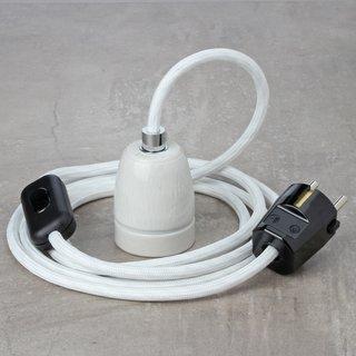 Textilkabel Lampenpendel weiß mit E27 Porzellanfassung Schnurschalter und Schutzkontakt-Stecker schwarz
