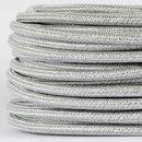 Textilkabel Stoffkabel silber metallic 3-adrig 3x0,75...
