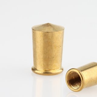 Lampen Abschlussknopf Spitzknopf M10x1 mm Innengewinde 13x20 mm Messing roh