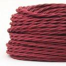 Textilkabel Stoffkabel bordeaux 2-adrig 2x0,75 gedreht...