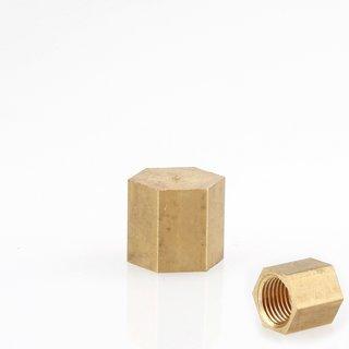 Lampen 6-Kant Knopf M10x1 Innengewinde 12x12 mm Messing roh