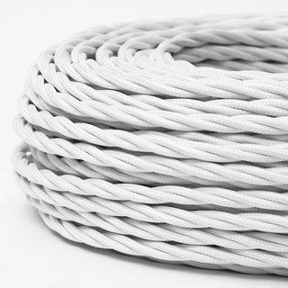 Textilkabel Stoffkabel weiss 2-adrig 2x0,75 gedreht verseilt einzeln umflochten