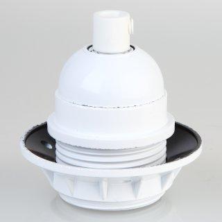 E27 Bakelit Fassung weiß Teilgewindemantel 1 Schraubring Zugentlaster Kunststoff weiß
