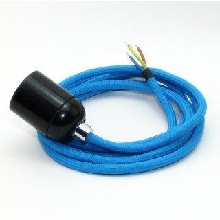 Textilkabel Lampenpendel blau mit E27 Bakelit Fassung schwarz Zugentlaster Metall chrom