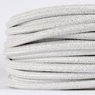 Textilkabel Stoffkabel weiß metallic 3-adrig 3x0,75 Gummischlauchleitung 3G 0,75 H03VV-F textilummantelt