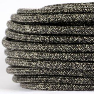 Textilkabel Stoffkabel grau meliert 3-adrig 3x0,75 Gummischlauchleitung 3G 0,75 H03VV-F textilummantelt