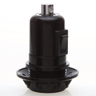 E27 Bakelit Vintage Fassung schwarz mit Teilgewindemantel Wippschalter Metall Zugentlaster chrom
