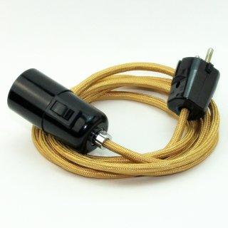 Textilkabel Pendel gold E27 Bakelit Vintage Fassung mit Schalter schwarz und Schutzkontakt-Stecker