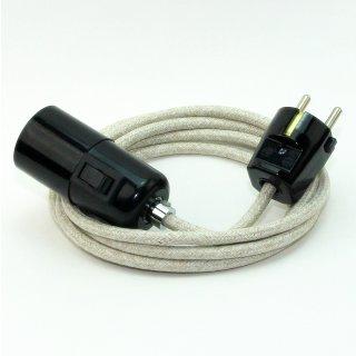 Textilkabel Pendel kiesel E27 Bakelit Vintage Fassung mit Schalter schwarz und Schutzkontakt-Stecker
