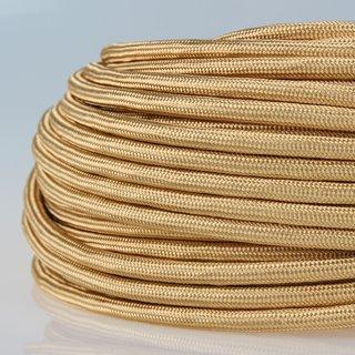 Textilkabel Stoffkabel gold 3-adrig 3x0,75 Zug-Pendelleitung S03RT-F 3G0,75