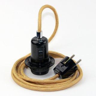 Textilkabel Pendel gold E27 Bakelit Vintage Fassung Teilgewindemantel mit Schalter schwarz und Schutzkontakt-Stecker
