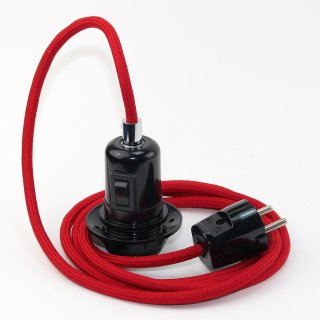 Textilkabel Pendel rot E27 Bakelit Vintage Fassung Teilgewindemantel mit Schalter schwarz und Schutzkontakt-Stecker