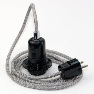 Textilkabel Pendel silber E27 Bakelit Vintage Fassung Teilgewindemantel mit Schalter schwarz und Schutzkontakt-Stecker