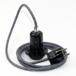 Textilkabel Pendel steingrau E27 Bakelit Vintage Fassung Teilgewindemantel mit Schalter schwarz und Schutzkontakt-Stecker