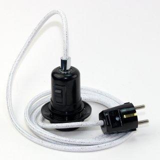 Textilkabel Pendel weiß metallic E27 Bakelit Vintage Fassung Teilgewindemantel mit Schalter schwarz und Stecker