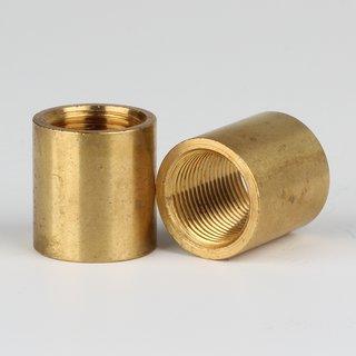 Verbindungs-Muffe Gewinde-Adapter Messing roh M13x1 Innengewinde auf M13x1 Innengewinde 17x18mm