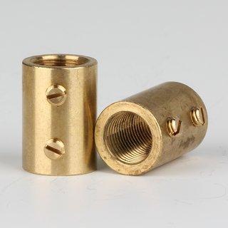 Verbindungs-Muffe Messing roh M10x1 Innengewinde 14x20mm mit 2xM4 Quergewinde