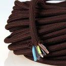 Textilkabel Stoffkabel braun 3-adrig 3x0,75...