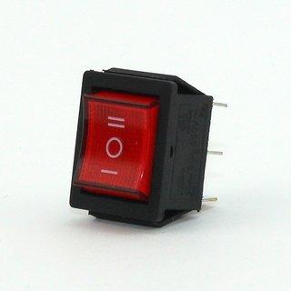 Einbau-Wippenschalter, 6-polig, rot beleuchtete Wippe, 250V/15A