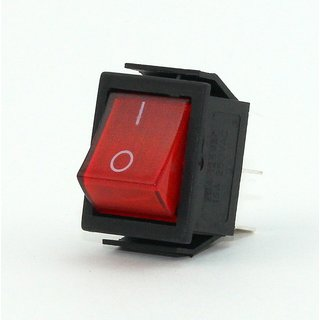 Einbau-Wippenschalter, 4-polig, rot beleuchtete Wippe, 250V/15A