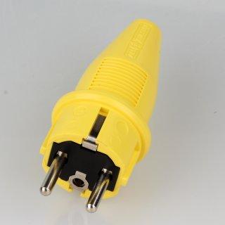 PVC Schutzkontakt-Stecker Gummistecker gelb 250V/16A spritzwassergeschützt IP44