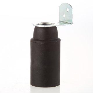 E14 Thermoplast Fassung schwarz ohne Außengewinde mit Metall-Winkel