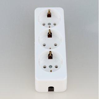 Kaiser Tischsteckdose Steckdosenleiste weiß 3-fach 250V/16A ohne Kabel mit Bodenplatte