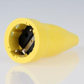 PVC Schutzkontakt-Kupplung Gummikupplung gelb 250V/16A spritzwassergeschützt IP44