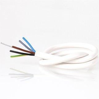 PVC Lampenkabel Rundkabel weiß 5-adrig 5x0,75mm² mit Stahlseil
