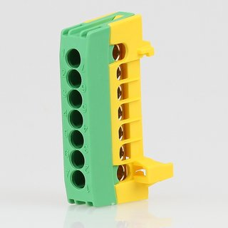 Schutzleiter-Klemme Verteilerklemme grün 7-polig für Hutschiene