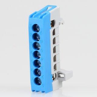 Neutralleiter-Klemme Verteilerklemme blau 7-polig für Hutschiene
