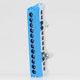Neutralleiter-Klemme Verteilerklemme blau 12-polig für Hutschiene