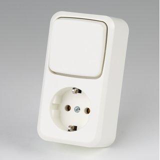 Steckdose weiß 1-fach mit Schalter für Aufputz-Montage 250V/16A