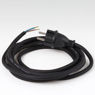 Gummi-Anschlusskabel 2x1mm² schwarz 3m für Elektrowerkzeuge