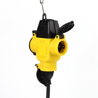 3-fach Schutzkontakt Gummi-Kupplung gelb/schwarz mit Klappdeckel IP44
