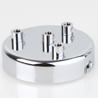 Lampen Metall Baldachin 100x25mm verchromt für 4 Lampenpendel mit Zugentlaster aus Metall