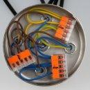 Lampen Metall Baldachin 100x25mm weiss für 5 Lampenpendel mit Zugentlaster aus Kunststoff