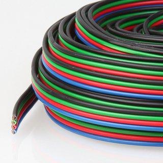 5 Meter Niedervoltkabel Vierlingslitze 4x0,25 mm²  für RGB LED Streifen