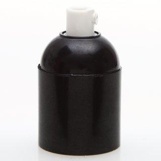 E27 Bakelit Fassung schwarz Glattmantel mit Zugentlaster Kunststoff weiß