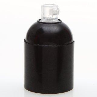 E27 Bakelit Fassung schwarz Glattmantel mit Zugentlaster Kunststoff transparent