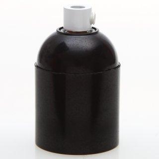 E27 Bakelit Fassung schwarz Glattmantel mit Zugentlaster Metall weiss