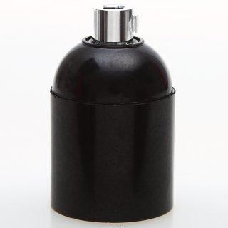E27 Bakelit Fassung schwarz Glattmantel mit Zugentlaster Metall chrom
